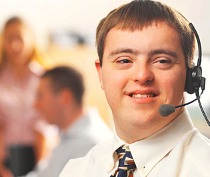 young man working in call centre